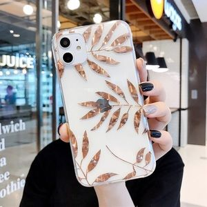 NEW iPhone 12/11/Pro/Max/XR Gold Leaves case